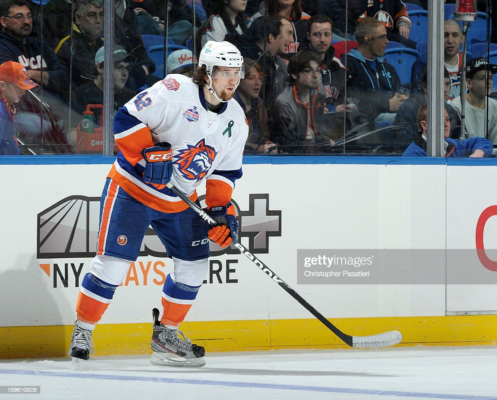 Brandon DeFazio #42 of Team White skates during a scrimmage match between players of the New York Islanders and Bridgeport Sound Tigers on January 16, 2013 at Nassau Veterans Memorial Coliseum in Uniondale, New York.