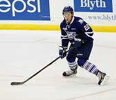 Brandon Devlin of the Mississauga Steelheads skates up ice against the Belleville Bulls during the OHL game on January 16 2015 at the Hershey Centre...