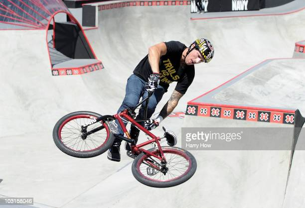 Brandon Dosch competes in the BMX freestyle park elimination during X Games 16 at the Event Deck LA Live on July 29 2010 in Los Angeles California