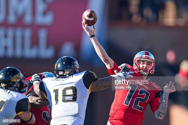 Brandon Doughty of the WKU Hilltoppers throws a pass during a game against the Southern Miss Golden Eagles at HouchensSmith Stadium on December 5...