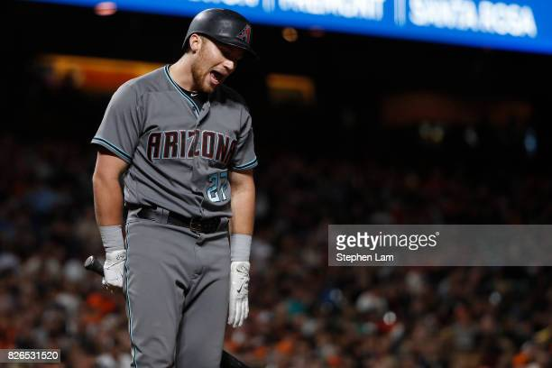 Brandon Drury of the Arizona Diamondbacks argues a call after being struck out during the seventh inning against the San Francisco Giants at ATT Park...