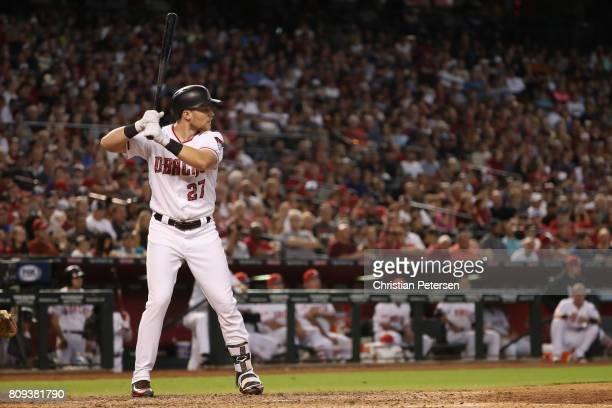 Brandon Drury of the Arizona Diamondbacks bats against the Colorado Rockies during the MLB game at Chase Field on July 2 2017 in Phoenix Arizona The...