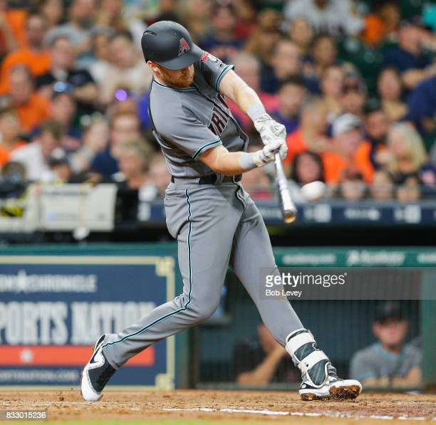 Brandon Drury of the Arizona Diamondbacks doubles in the third inning against the Houston Astros at Minute Maid Park on August 16 2017 in Houston...