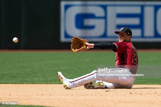 Brandon Drury of the Arizona Diamondbacks fields the ball during a game against the Cleveland Indians at Chase Field on April 9 2017 in Phoenix...