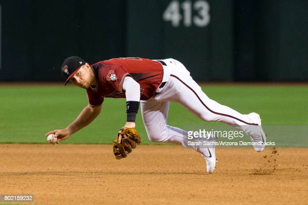 Brandon Drury of the Arizona Diamondbacks fields the ball during a game against the Philadelphia Phillies at Chase Field on June 25 2017 in Phoenix...