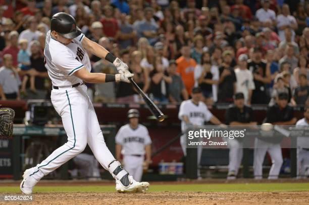 Brandon Drury of the Arizona Diamondbacks hits a walk off single during the ninth inning of the MLB game against the Washington Nationals at Chase...