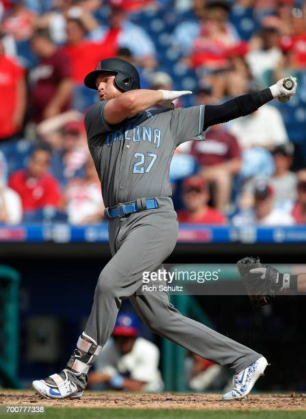 Brandon Drury of the Arizona Diamondbacks in action against the Philadelphia Phillies during a game at Citizens Bank Park on June 18 2017 in...