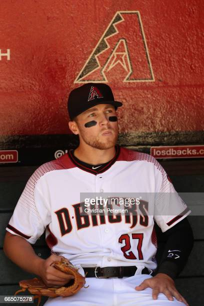 Brandon Drury of the Arizona Diamondbacks in the dugout during the MLB opening day game against the San Francisco Giants at Chase Field on April 2...