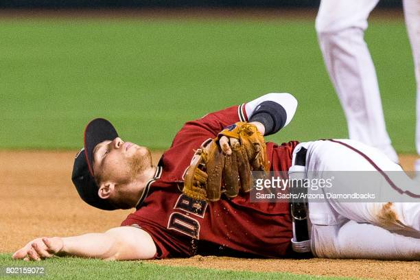 Brandon Drury of the Arizona Diamondbacks reacts after attempting to make an out at first during a game against the Philadelphia Phillies at Chase...