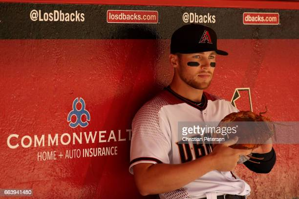 Brandon Drury of the Arizona Diamondbacks sits in the dugout before the MLB opening day game against the San Francisco Giants at Chase Field on April...
