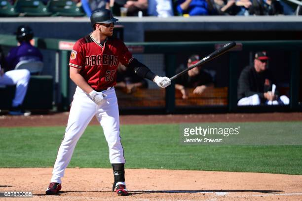 Brandon Drury of the Arizona Diamondbacks stands at bat against the Colorado Rockies during the spring training game at Salt River Fields at Talking...