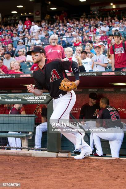 Brandon Drury of the Arizona Diamondbacks takes the field prior to the start of the game against the Cleveland Indians at Chase Field on April 8 2017...