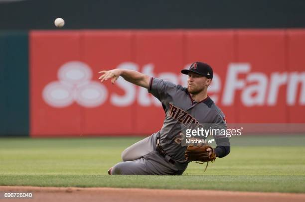 Brandon Drury of the Arizona Diamondbacks throws out Aaron Altherr of the Philadelphia Phillies in the bottom of the first inning at Citizens Bank...