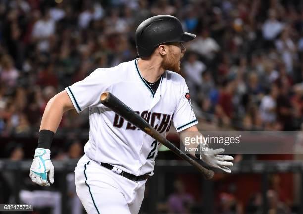 Brandon Drury of the Arizona Diamondbacks tosses his bat after hitting a three run home run against Tyler Glasnow of the Pittsburgh Pirates during...