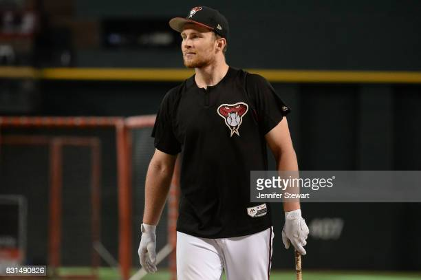 Brandon Drury of the Arizona Diamondbacks warms up during batting practice before the MLB game against the Los Angeles Dodgers at Chase Field on...