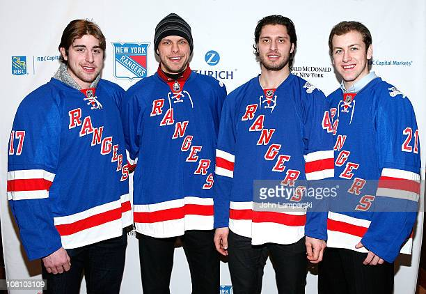 Brandon Dubinsky Martin Biron Steve Eminger and Derek Stepan attends the 17th Annual Skate With the Greats at The Rink and Restaurant at Rockefeller...