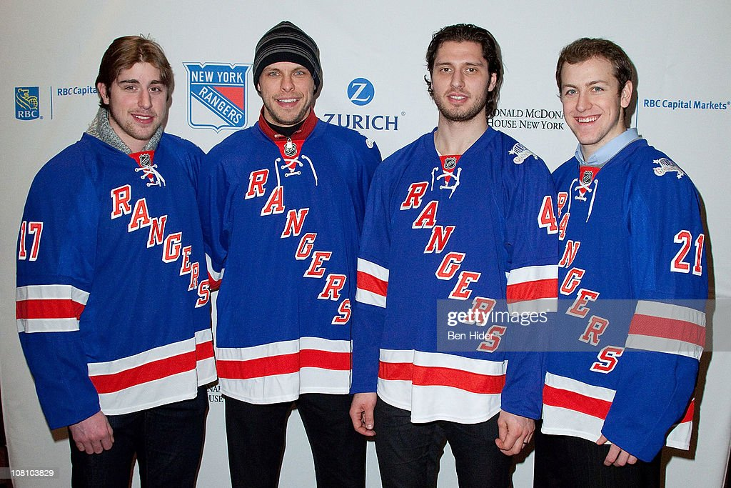 Brandon Dubinsky Martin Biron Steve Eminger and Derek Stepan of the New York Rangers attend the 17th Annual Skate With the Greats at The Rink and...