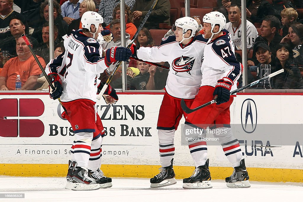 <a gi-track='captionPersonalityLinkClicked' href=/galleries/search?phrase=Brandon+Dubinsky&family=editorial&specificpeople=2271907 ng-click='$event.stopPropagation()'>Brandon Dubinsky</a> #17, Matt Calvert #11 and <a gi-track='captionPersonalityLinkClicked' href=/galleries/search?phrase=Dalton+Prout&family=editorial&specificpeople=6263673 ng-click='$event.stopPropagation()'>Dalton Prout</a> #47 of the Columbus Blue Jackets celebrate Calvert's third period goal scored during the game against the Anaheim Ducks on April 17, 2013 at Honda Center in Anaheim, California.