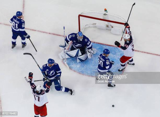 Brandon Dubinsky of the Columbus Blue Jackets celebrates a goal against goalie Andrei Vasilevskiy and the Tampa Bay Lightning during the third period...