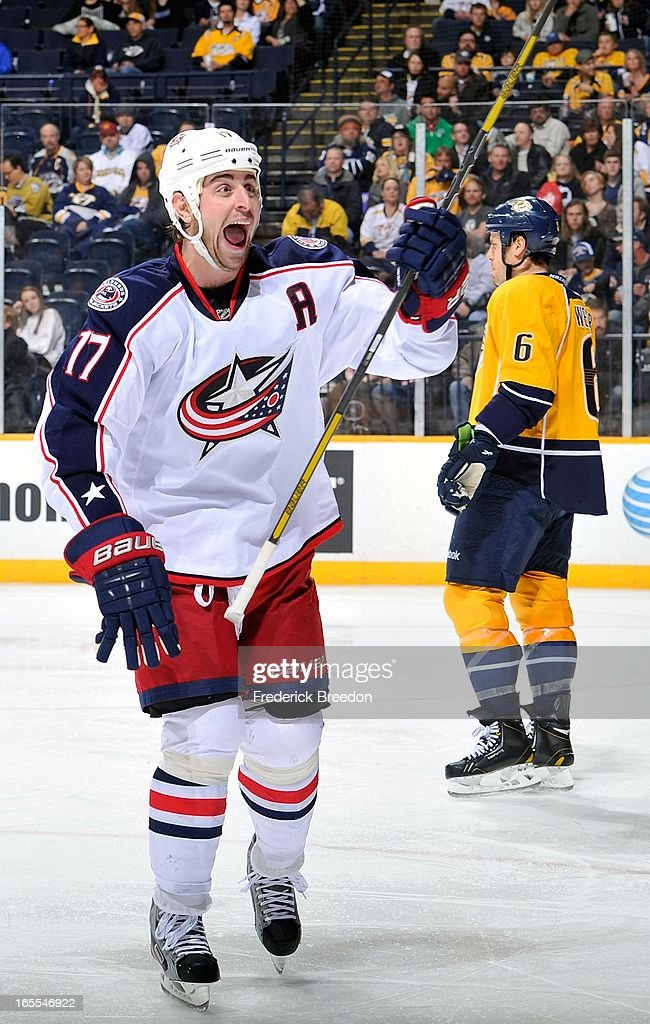 <a gi-track='captionPersonalityLinkClicked' href=/galleries/search?phrase=Brandon+Dubinsky&family=editorial&specificpeople=2271907 ng-click='$event.stopPropagation()'>Brandon Dubinsky</a> #17 of the Columbus Blue Jackets celebrates a goal against the Nashville Predators at the Bridgestone Arena on April 4, 2013 in Nashville, Tennessee.
