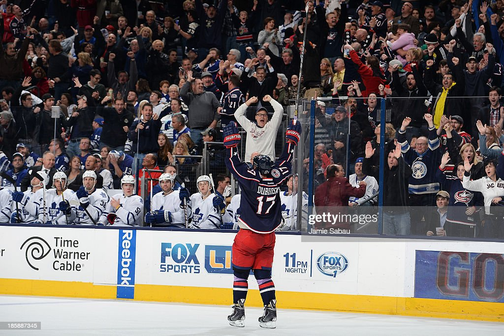 <a gi-track='captionPersonalityLinkClicked' href=/galleries/search?phrase=Brandon+Dubinsky&family=editorial&specificpeople=2271907 ng-click='$event.stopPropagation()'>Brandon Dubinsky</a> #17 of the Columbus Blue Jackets celebrates after scoring his short-handed goal during the third period on October 25, 2013 at Nationwide Arena in Columbus, Ohio. Columbus defeated Toronto 5-2.