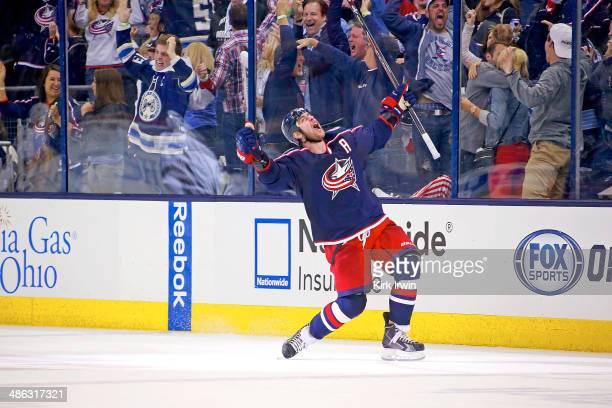 Brandon Dubinsky of the Columbus Blue Jackets celebrates after scoring the game tying goal during the third period against the Pittsburgh Penguins in...