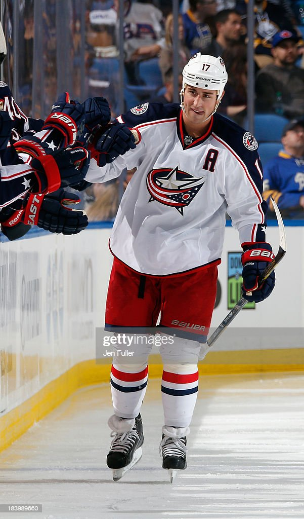 <a gi-track='captionPersonalityLinkClicked' href=/galleries/search?phrase=Brandon+Dubinsky&family=editorial&specificpeople=2271907 ng-click='$event.stopPropagation()'>Brandon Dubinsky</a> #17 of the Columbus Blue Jackets celebrates his second-period goal against the Buffalo Sabres at First Niagara Center on October 10, 2013 in Buffalo, New York. Columbus defeated Buffalo 4-1.