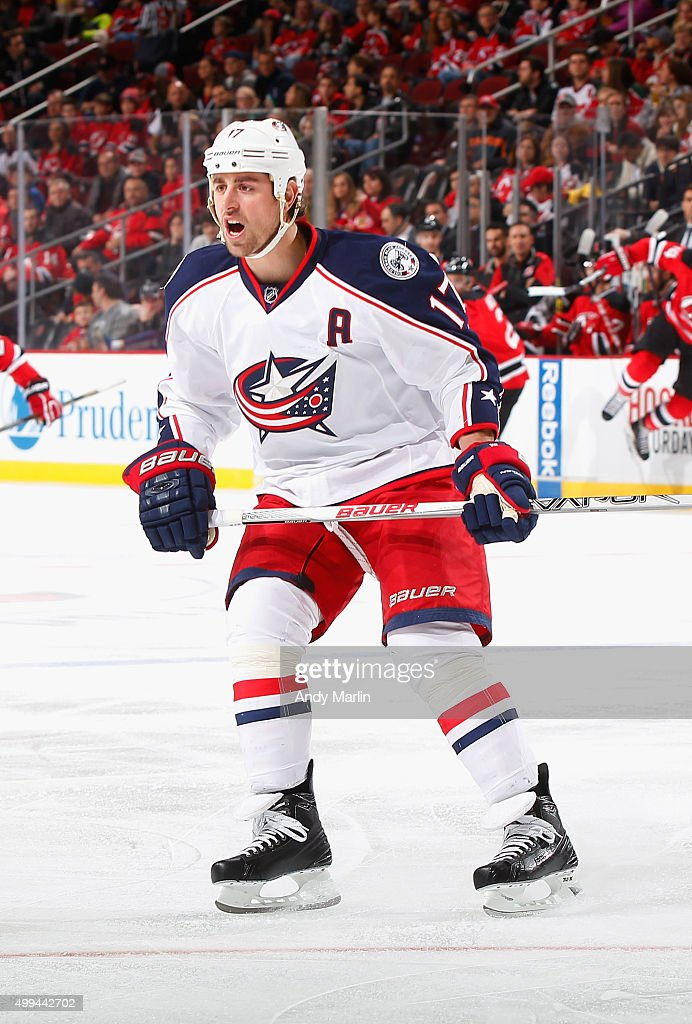 Brandon Dubinsky of the Columbus Blue Jackets skates against the New Jersey Devils during the game at the Prudential Center on November 25 2015 in...