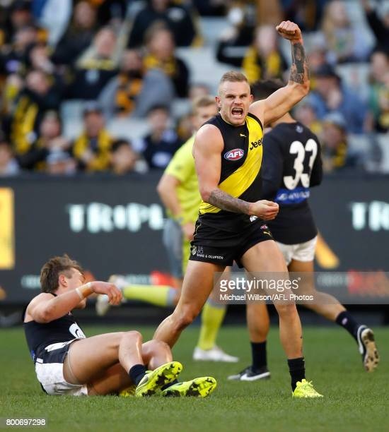 Brandon Ellis of the Tigers celebrates during the 2017 AFL round 14 match between the Richmond Tigers and the Carlton Blues at the Melbourne Cricket...