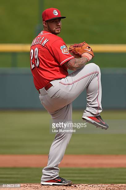 Brandon Finnegan of the Cincinnati Reds p[itches against the Chicago Cubs on March 5 2016 in Mesa Arizona