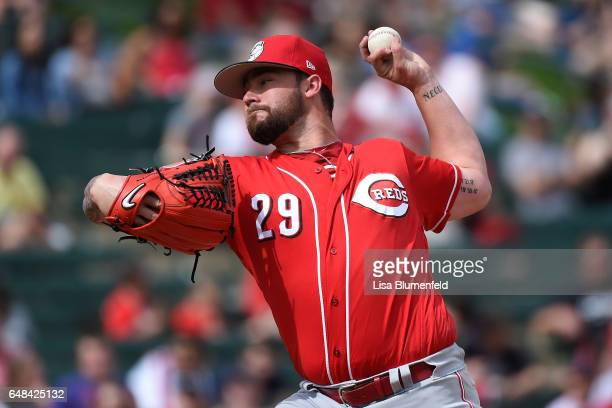 Brandon Finnegan of the Cincinnati Reds pitches against the Los Angeles Angels of Anaheim during a spring training game at Tempe Diablo Stadium on...
