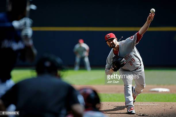 Brandon Finnegan of the Cincinnati Reds pitches against the Milwaukee Brewers during the first inning at Miller Park on September 25 2016 in...