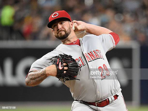 Brandon Finnegan of the Cincinnati Reds pitches during the first inning of a baseball game against the San Diego Padres at PETCO Park on July 29 2016...