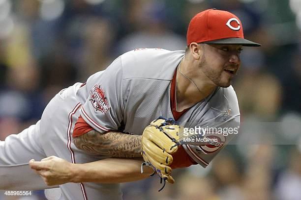 Brandon Finnegan of the Cincinnati Reds pitches during the first inning against the Milwaukee Brewers at Miller Park on September 18 2015 in...