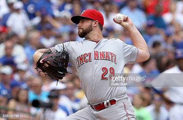 Brandon Finnegan of the Cincinnati Reds pitches in the first inning against the Chicago Cubs at Wrigley Field on July 5 2016 in Chicago Illinois