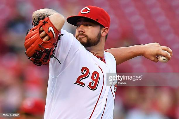 Brandon Finnegan of the Cincinnati Reds pitches in the first inning against the New York Mets at Great American Ball Park on September 6 2016 in...
