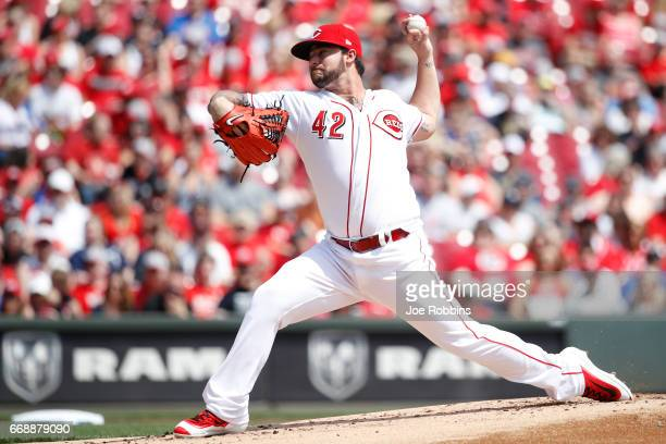 Brandon Finnegan of the Cincinnati Reds pitches in the first inning of a game against the Milwaukee Brewers at Great American Ball Park on April 15...