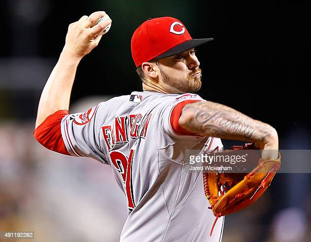 Brandon Finnegan of the Cincinnati Reds pitches in the third inning against the Pittsburgh Pirates during the game at PNC Park on October 3 2015 in...