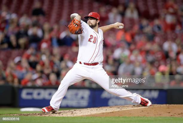 Brandon Finnegan of the Cincinnati Reds throws a pitch against the Philadelphia Phillies at Great American Ball Park on April 5 2017 in Cincinnati...