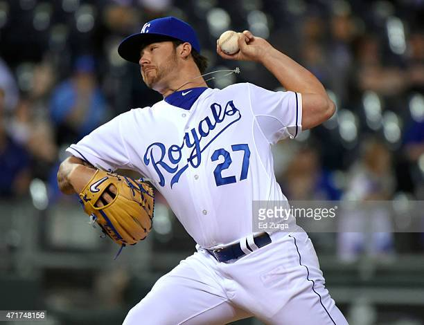 Brandon Finnegan of the Kansas City Royals pitches in the ninth inning during a baseball game against the Detroit Tigers on April 30 2015 at Kauffman...