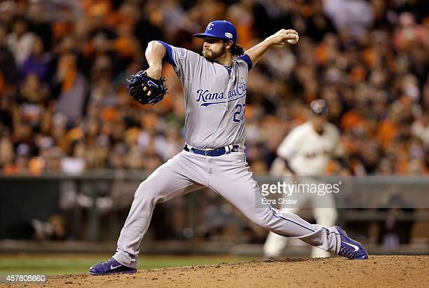 Brandon Finnegan of the Kansas City Royals pitches in the seventh inning against the San Francisco Giants during Game Three of the 2014 World Series...