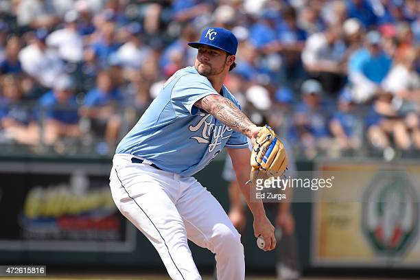 Brandon Finnegan of the Kansas City Royals throws against the Detroit Tigers at Kauffman Stadium on May 3 2015 in Kansas City Missouri