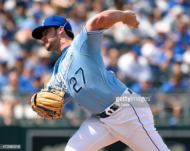 Brandon Finnegan of the Kansas City Royals throws in the seventh inning against the Detroit Tigers on May 3 2015 at Kauffman Stadium in Kansas City...