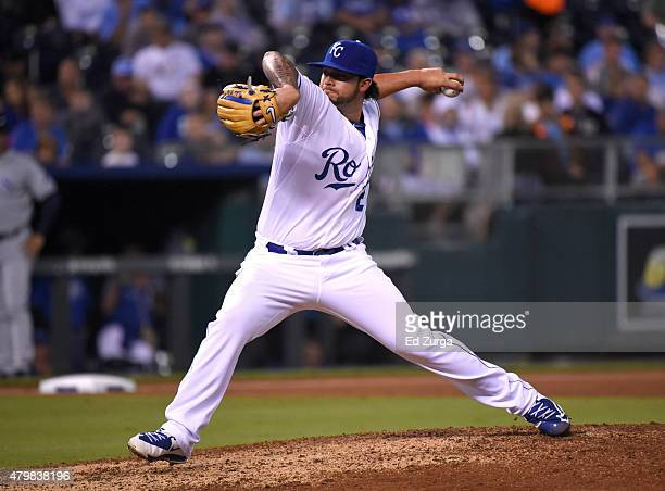 Brandon Finnegan of the Kansas City Royals throws in the sixth inning against the Tampa Bay Rays during the second game of a double header at...