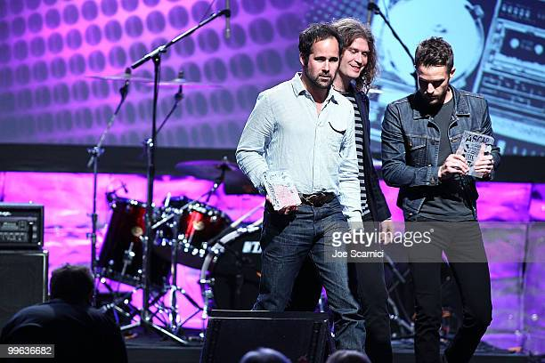 Brandon Flowers Dave Keuning and Ronnie Vannucci Jr of The Killers accept their ASCAP Award at the 27th Annual ASCAP Pop Music Awards Show at...