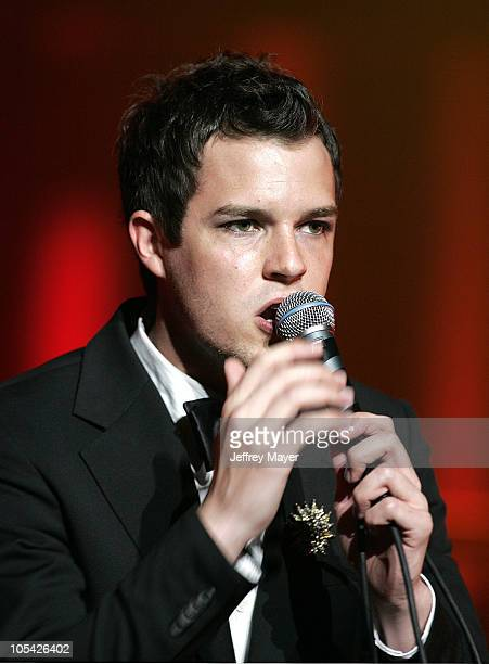 Brandon Flowers of The Killers during The Killers in Concert at The Wiltern Theatre April 16 2005 at The Wiltern Theatre in Los Angeles California...