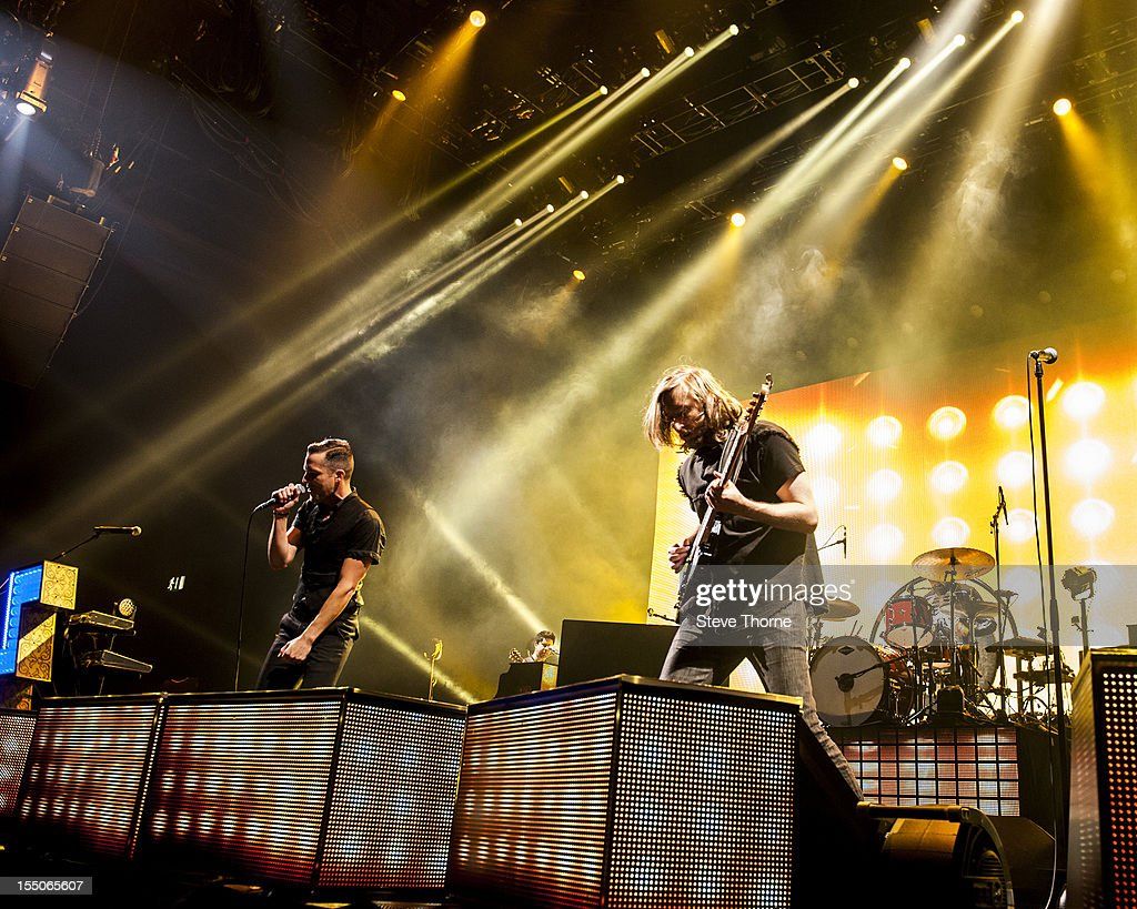 Brandon Flowers of The Killers performs on stage at LG Arena on October 31 2012 in Birmingham United Kingdom