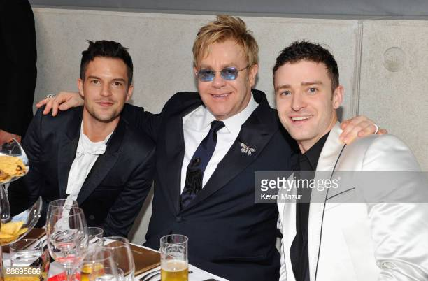 Brandon Flowers of the Killers Sir Elton John wearing Chopard Jewelry and Justin Timberlake attends The 11th Annual White Tie and Tiara Ball to...