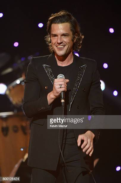 Brandon Flowers performs on stage during the Imagine John Lennon 75th Birthday Concert at The Theater at Madison Square Garden on December 5 2015 in...