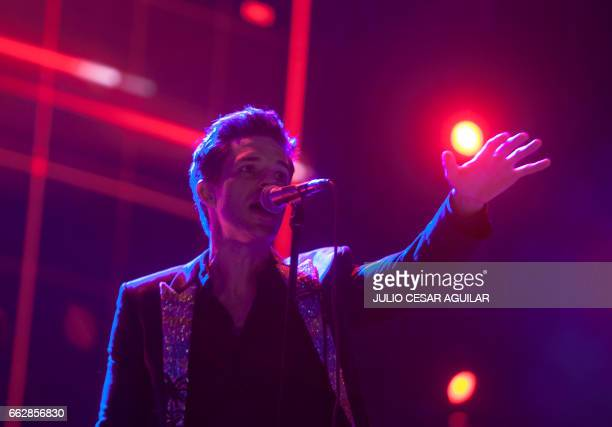 Brandon Flowers singer of the US band The Killers performs during the festival Pal Norte 2017 in Monterrey Nuevo Leon Mexico onn March 31 2017 / AFP...